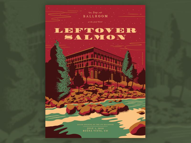 Leftover Salman - Buena Vista, CO colorado leftover salmon screenprint illustration design gig poster