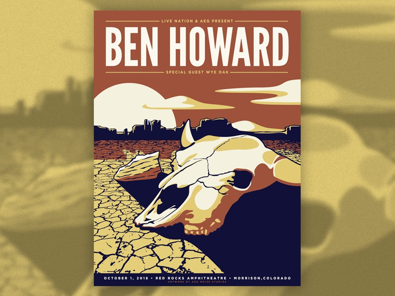 Ben Howard - Red Rocks Amphitheatre illustration design silk screen screenprint gig poster