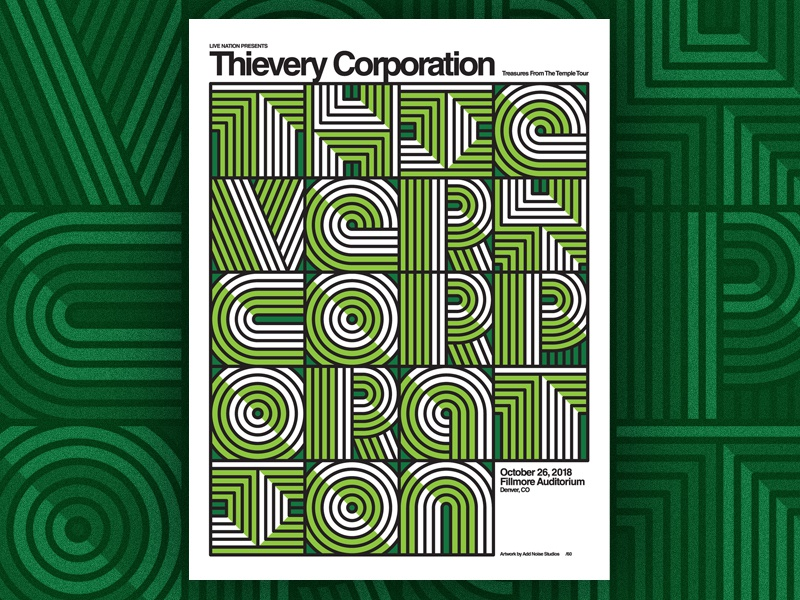 Thievery Corporation poster design thievery corporation typography design poster screenprint gig poster