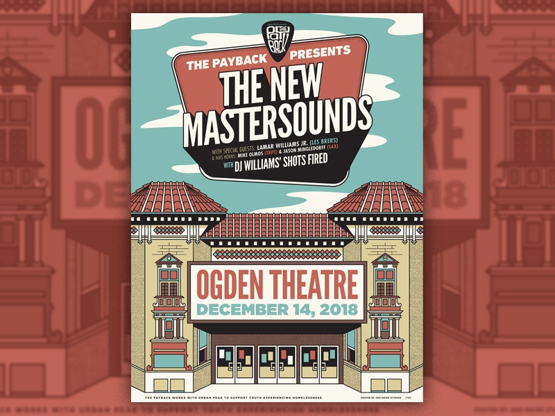The Payback - The New Mastersounds urban peak the new mastersounds denver music colorado denver ogden theatre gig poster illustration poster