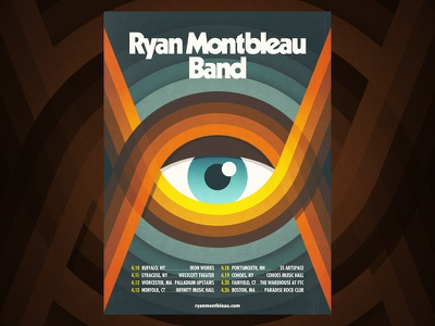 Ryan Montbleau Band - poster design ryan montbleau music tour colour color eye thick lines geometric illustration design gig poster