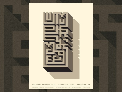 Umphrey's McGee - Brooklyn, NY add noise studios art that feeds food drive conscious alliance silk screen screenprint abstract maze typography gig poster poster