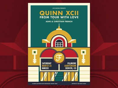 Quinn XCII - Fillmore Denver Poster add noise studios symmetry wes anderson illustration silkscreen screenprint gig poster live nation fillmore denver fillmore auditorium fillmore quinn xcii