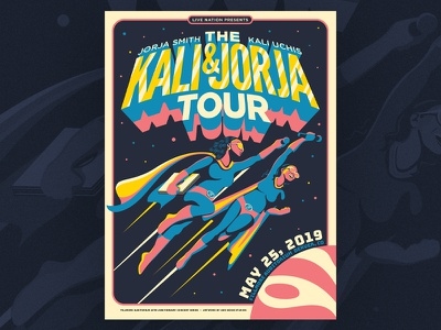 The Kali & Jorja Tour jorja smith kali uchis colorado fillmore auditorium fillmore denver fillmore denver screen print silk screen illustration design gig poster