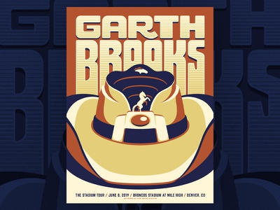 Garth Brooks - Broncos Stadium at Mile High add noise studios screenprint silkscreen mile high colorado denver illustration stadium tour denver broncos garth brooks concert poster gig poster