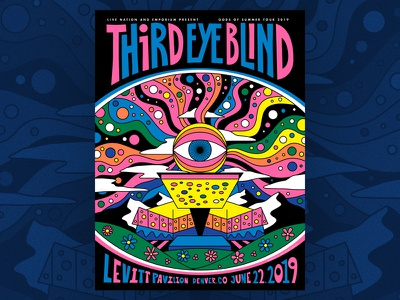 Third Eye Blind - Levitt Pavilion 2019 add noise studios levitt pavilion denver colorado third eye blind psychedelic design illustration poster silkscreen screenprint gig poster