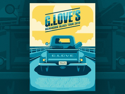 G. Love - Beachside Blues tour print special sauce g love silkscreen screen print illustration poster gig poster