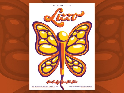 Lizzo - Fillmore Denver 2019 fillmore colorado denver butterfly screenprint illustration design poster silkscreen gig poster