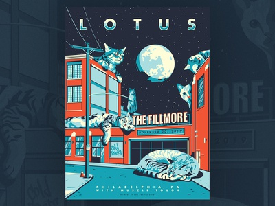 Lotus - Fillmore Philly 2019 add noise studios fillmore fishtown philadelphia illustration cats cat poster silkscreen screenprint gig poster