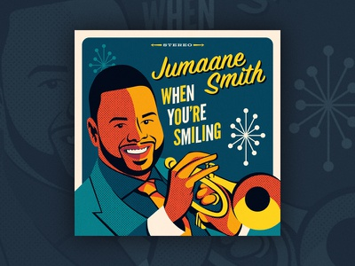 "Jumaane Smith - ""When You're Smiling"" portrait illustration vintage retro swing jazz michael buble juilliard trumpet jumaane smith vinyl record record album cover album art album"