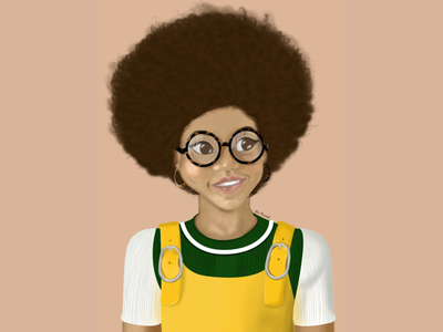 Curly girl curly girl curls art character design digital painting illustration