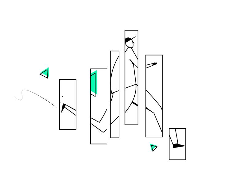 Fragments running illustration lines