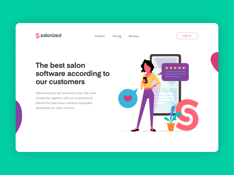 Salonized Rebranding vector ui design salon software fresh colors illustration identity website salonized branding