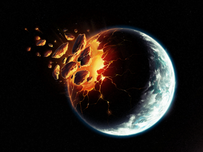 Exodus photoshop painting space sci-fi explosion planet giants timetoleave