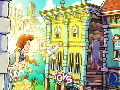 Main Street photoshop illustration colourful cartoony cute disney bioshock infinite booker toys