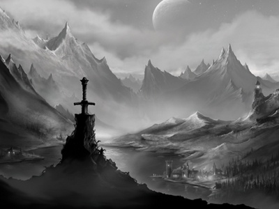 Valley of Anuiel fantasy blackwhite photoshop painting mountains sword environment