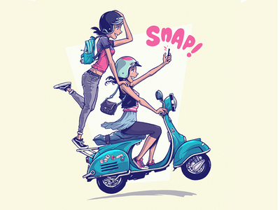 SNAP! snap fun verspa scooter girls photoshop illustration