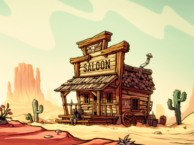 Old Saloon mountains cactus cowboy wildwest desert saloon concept art cartoony drawing illustration painting photoshop