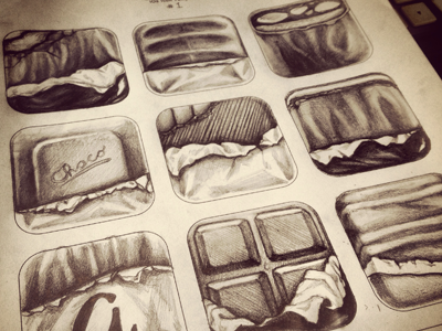 Chocobar Icon choco chocolate icon ios shading template sketches graphite