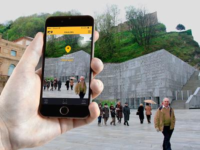 Geolocated gamming app design. gamming tourism tour web webdesign logo branding app design app