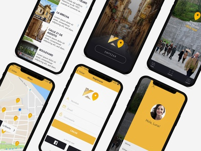Geolocated gamming app design. gamming design tourism tour uiux webdesign logo branding app design app