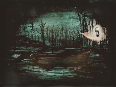 Night lantern boat swamp drawing digital art ipad procreate