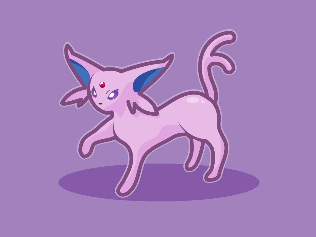 Espeon eevee espeon fanart bright pokemon design illustration vector illustrator
