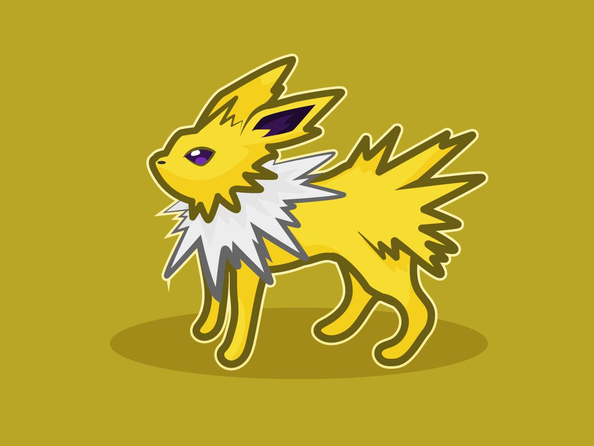 Jolteon jolteon eevee fanart bright pokemon design illustration vector illustrator