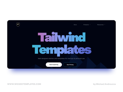 Wicked Templates - New Face 2 dark mode dark theme clean web design object sans typography web easy to use uiux webdev html css website templates tailwindcss tailwind design