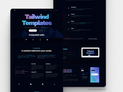 Wicked Templates - New Face 3 illustration branding app clean tailwindcss template uiux webdesign interior typography web neon colors figma neon design