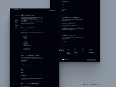 WICKEDTEMPLATES 3Rd REDESIGN - DARK DOCUMENTATION clean design simple minimalism typography atipo geomanist silkamono silkamono documentation developer tools web design dark theme dark ui