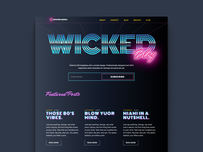 Synthwave - Upcoming template for bloggers. neon colors vaporwave outrun miami vice darkmode tailwindcss blog design synthwave