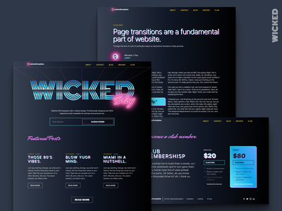 Synthwave, for wickedtemplates. tailwind ui ux illustration figma branding clean typography web design outrun synthwave