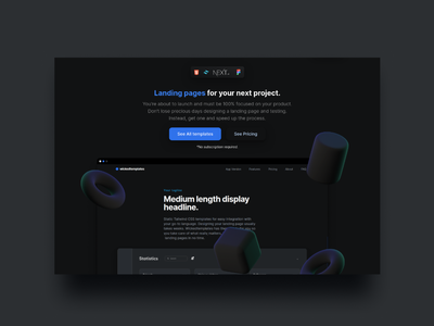 wickedtemplates new landing page. ux ui 3d branding illustration wickedtemplates tailwindcss landing page ui design landing page design landing page