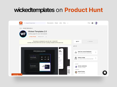 wickedtemplates    Live on  Product Hunt web design launch producthunt product