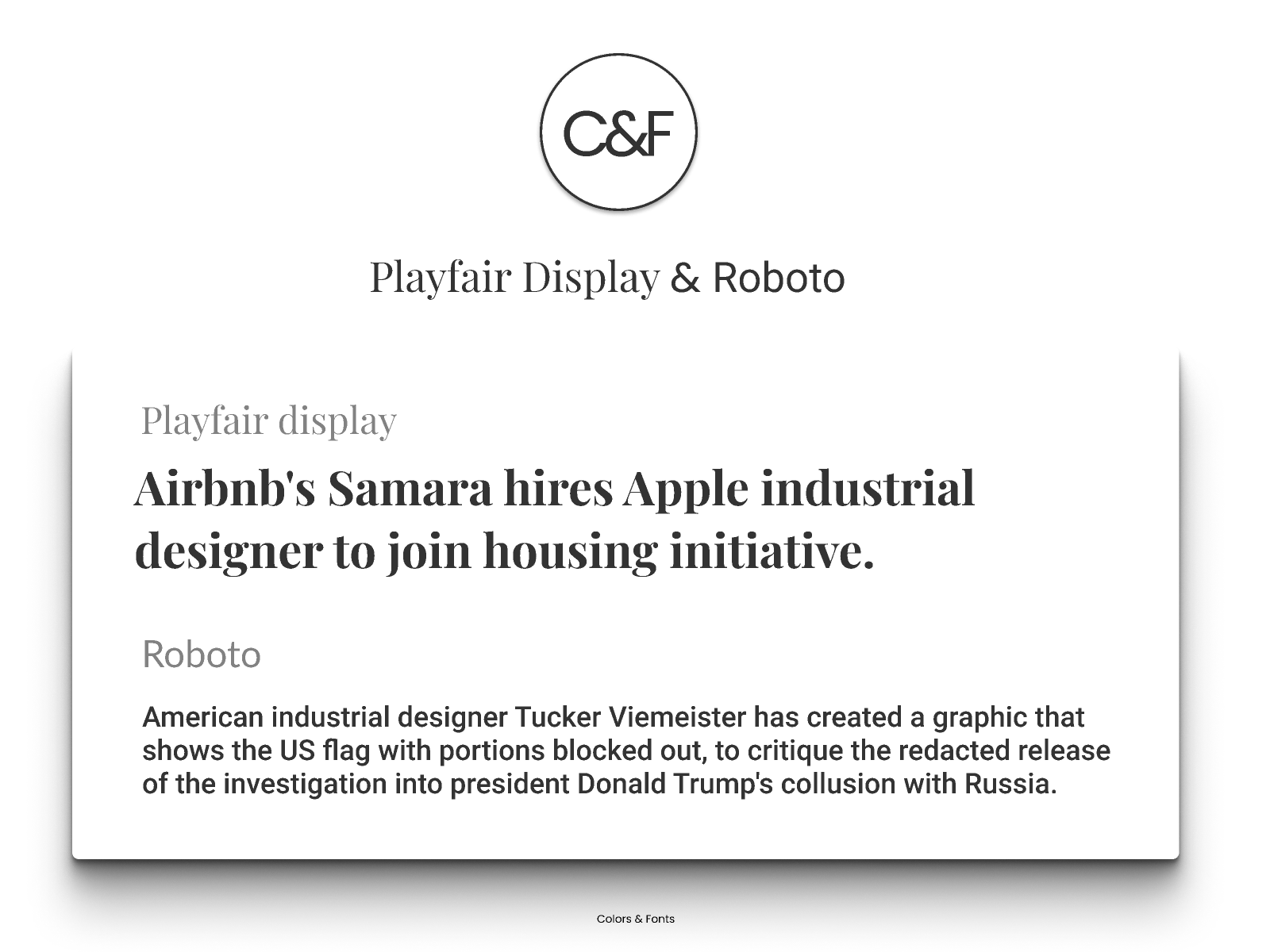 Playfair Display & Roboto by Michael Andreuzza on Dribbble