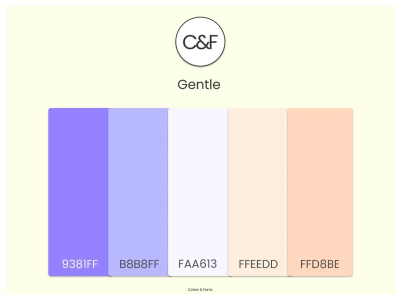 Gentle minimal animation flat website logo illustration branding app web typography ux ui design figma colorsandfonts gradients font pairing color color palettes gentle