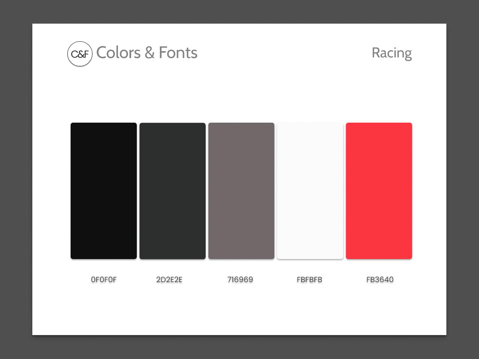 Colors & Fonts - Racing