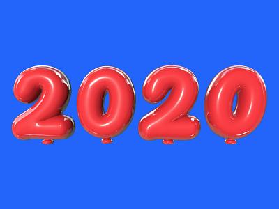 2020 happynewyear newyear typogaphy balloon 2020 cinema4d c4d 3d art 3d