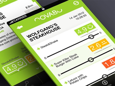 NOVABU rank application food mobile iphone social credible grading restaurants