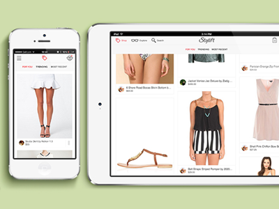 Stylift application social fashion startup styling trends trendsetters mobile ipad responsive