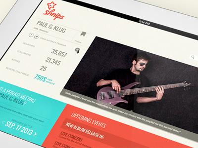 Shnips application idols account web events music concert calendar profile
