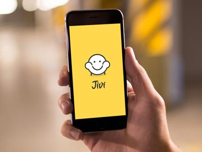 jivi startup yellow binge watching mobile iphone couch potato sofa logo branding application b2c