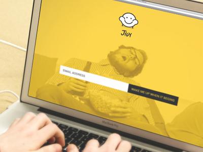 Jivi's landing page landing page website startup yellow sofa couch potato binge watching tv application mobile iphone branding
