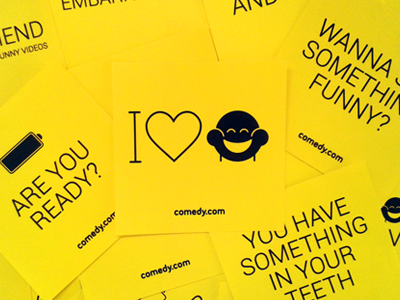 Comedy.com yellow branding laugh lol comedy sofa startup stickers