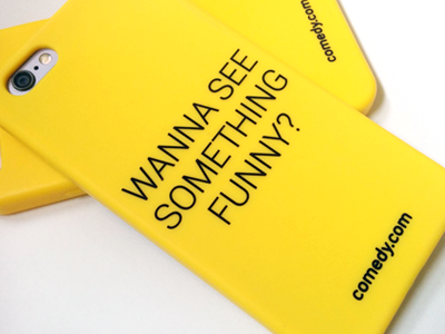 comedy.com's iPhone case :) funny comedy yellow cover branding startup case iphone