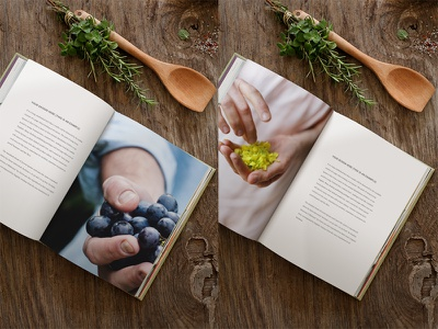 Open book mockup wooden surface kitchen photo mockup psd foodies recipe book cookbook smart object countryside double spread mockup book