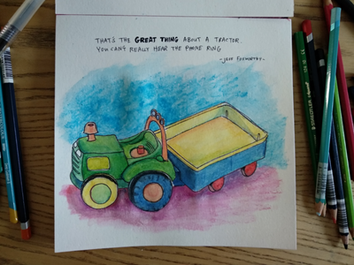 Tractor quote sketch illustration tractor