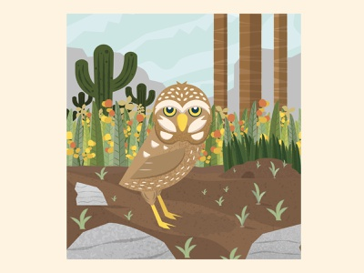 Burrowing Owl scenery bird forest habitat animal burrowing owl owl graphic design vector illustration illustrator