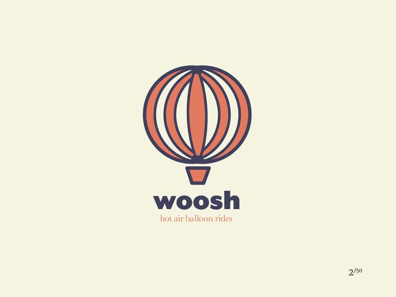 Woosh Logo hot air balloon woosh logo daily logo challenge logo design illustrator branding space vector graphic design miami logo 2d